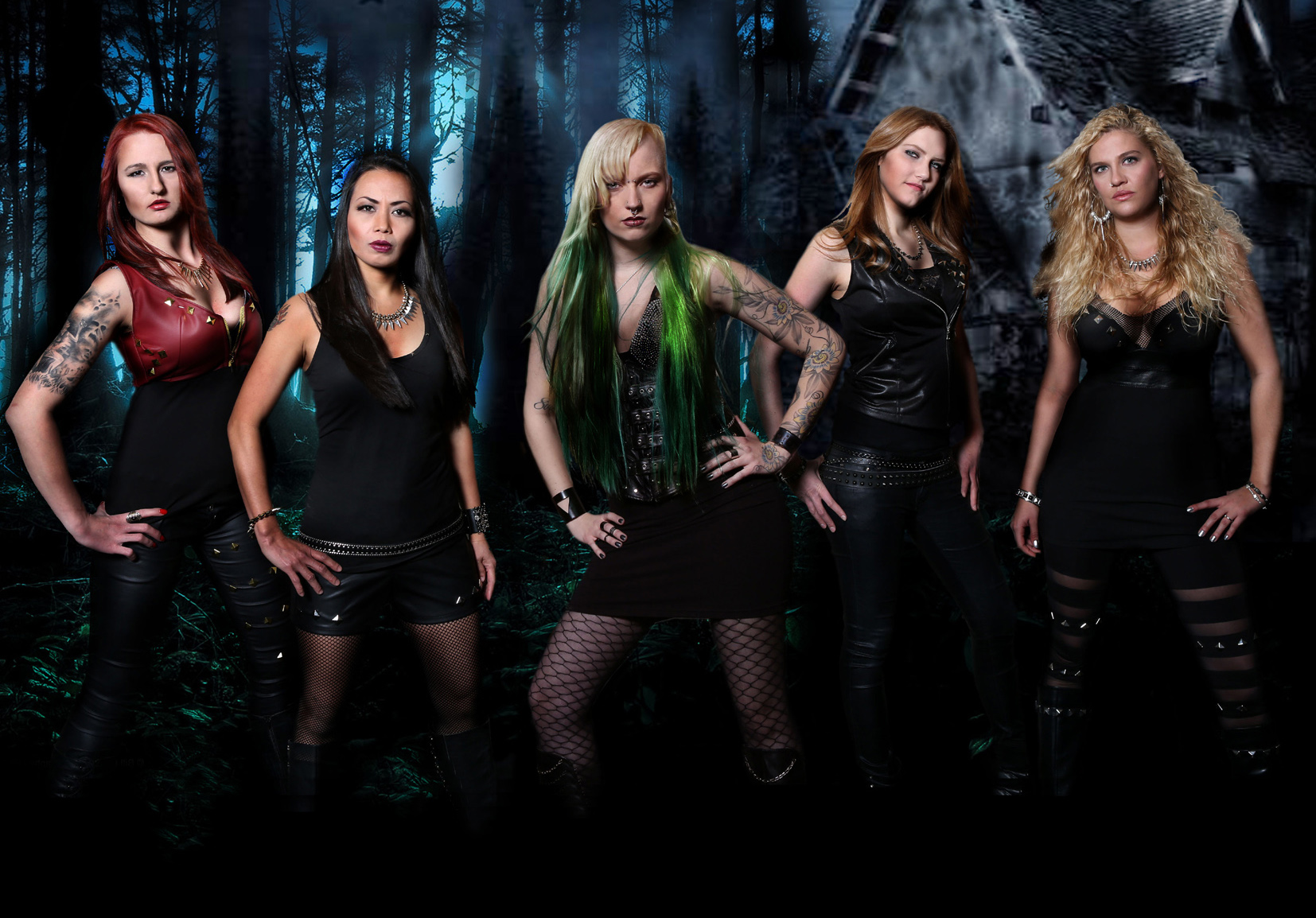 Burning Witches Band Photo from left to right is Jay, Lala, Seraina, Alea, Romana