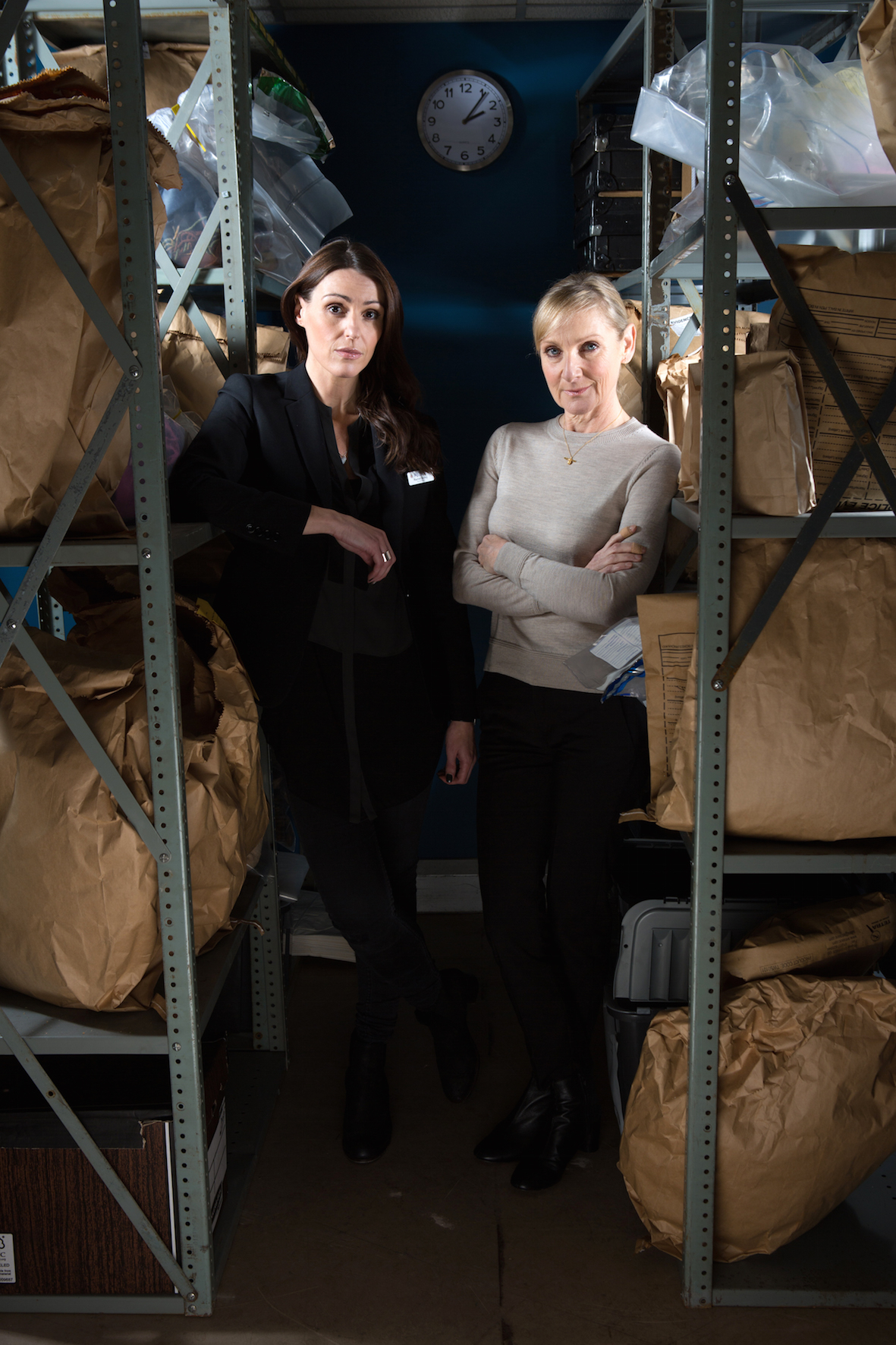 RACHEL BAILEY (Suranne Jones) and JANET SCOTT (Lesley Sharp) in the evidence room