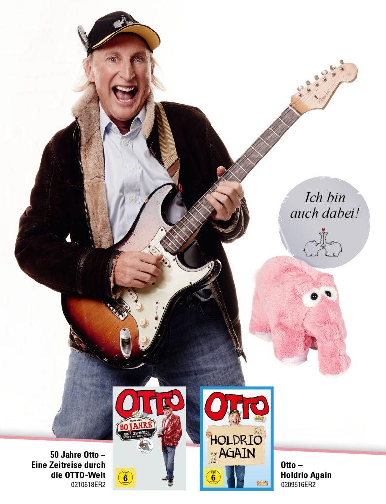 """Fan-Box mit """"Holdrio Again"""", """"50 Jahre Otto"""" und dem weltbekannten Ottifant als Plüschtier"""