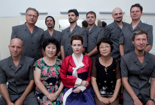 Laibach with Taylors in Pyongyan. Photo credits: Valnoir