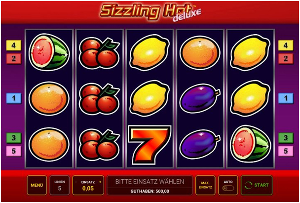 Display des Spielautomaten-Games Sizzling Hot