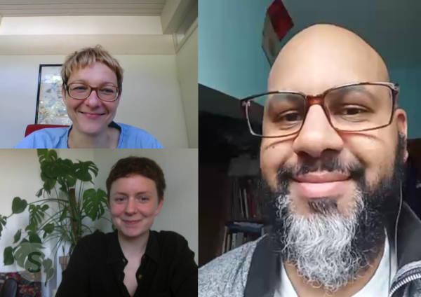 Online-Konferenz International Jury: Tasja Langenbach (Köln),Tinne Zenner (Kopenhagen) und Greg de Cuir Jr (Belgrad)